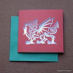 Celtic Knot Card Celtic Knot Welsh Dragon Card от NineFingerJo