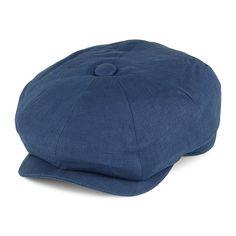 Christys Hats 8 Piece Linen Newsboy Cap - Dark Denim