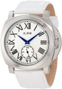 a_line Women's Pyar Analog Display Japanese Quartz Two Tone Watch by a_line -- Awesome products selected by Anna Churchill Amazing Watches, Beautiful Watches, Casual Watches, Stainless Steel Case, Fashion Watches, White Leather, Quartz, Silver, Display