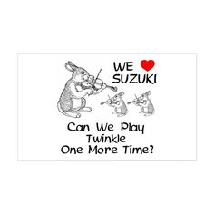 Suzuki Violin Bunnies Rectangle Sticker