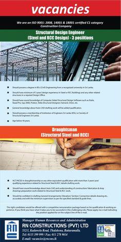 Structural Design Engineer (Steel & RCC Design) / Draughtsman (Structural Steel & RCC) at RN Constructions (Pvt) Ltd Design Engineer, Engineering Jobs, Career, University, Construction, Steel, Building, Carrera, Buildings