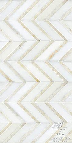 New Ravenna Mosaics-Raj Stone Product Number: Description: Raj shown in Paperwhite honed and Cloud Nine polished. Chevron Tile, Chevron Floor, Herringbone Tile, Gold Chevron, Granite Backsplash, Kitchen Backsplash, Backsplash Ideas, Kitchen Countertops, Mosaic Backsplash