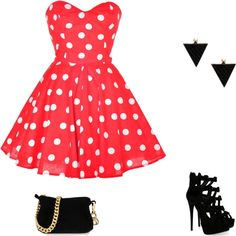 A fashion look from January 2013 featuring polka dot dresses, platform heel sandals and chain purse. Browse and shop related looks. Summertime, Shoe Bag, Polyvore, Stuff To Buy, Closet, Shopping, Collection, Dresses, Design