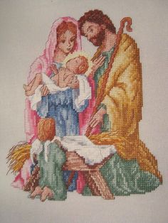 "Cross Stitch ""MARY, JOSEPH AND BABY JESUS"" Christmas pattern - nativity, angel picclick.com"