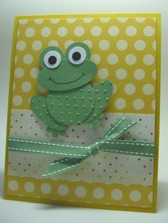 """By Laurie. Circle punch body. Smaller circle punches for eyes. Oval punch for legs. Larger oval punch for face. Feet from flower punch. Dry emboss body and legs in a dotted folder like Cuttlebug """"Swiss Dots."""" CASE'd (modified) from France Martin."""