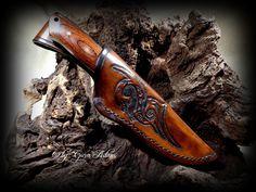 "Wet formed knife sheath with custom motif ""snake"" #b2zonedepict #leatherwork #knifesheath #b2zone.com"