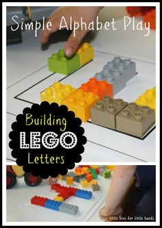 Set up this very simple and fun LEGO and Unifix alphabet letter building activity for great hands on learning through play! Build your own alphabet! Preschool Letters, Kindergarten Literacy, Preschool Classroom, Preschool Learning, Lego Activities, Alphabet Activities, Lego Letters, Kids Letters, Learning The Alphabet