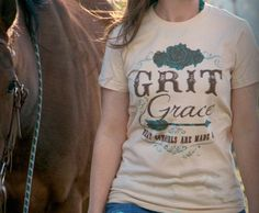 """COWGIRL ATTITUDE TEE """"Grit & Grace What Cowgirls Are Made Of"""" Short Sleeve Tan Western T-Shirt"""