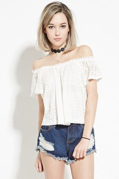 FOREVER 21 Crochet Off-The-Shoulder Top
