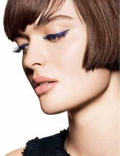 royal blue cat-eyeliner with blue mascara #beauty #makeup #chanel #bob #shorthair