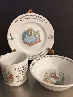 Wedgwood Peter Rabbit Baby China 3 Piece Set Beatrix Potter England Shower Gift #Wedgwod