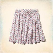 Girls Hollister High Rise Floral Skater Skirt