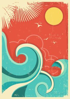 Illustration about Vintage tropical background with sea waves and sun. Illustration of seascape, retro, travel - 32824836 Sun Prints, Framed Art Prints, Vintage Art Prints, Surf Vintage, Vintage Hawaii, Deco Surf, Tropical Background, Poster Art, Art Posters
