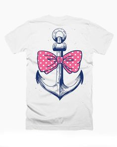 Anchor and Pink Bow Preppy Southern T-shirt - Girls and Womens Cute Graphic Tee