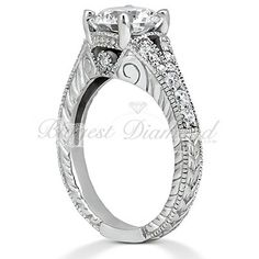 .85CT Total Diamond Weight Handcrafted Diamond rope edges Round Diamonds Engagement ring