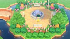 My take on a public park 🥰 - AnimalCrossing Animal Crossing 3ds, Animal Crossing Wild World, Animal Crossing Villagers, Animal Crossing Qr Codes Clothes, Animal Games, My Animal, Motif Art Deco, Motifs Animal, Parking Design