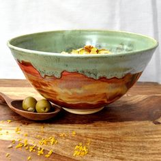 Ceramic Serving Bowl Noodle bowl green rust Autumn by OneClayBead