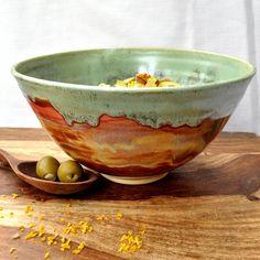 Ceramic Serving Bowl Noodle bowl green rust Autumn di OneClayBead, $36.00