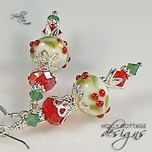 Artisan crafted lampwork and crystal holiday earrings from Holly Cottage Designs on Ruby Lane