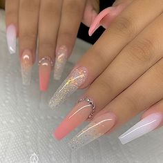 In this article, we collect The Most Popular Nail Design for Coffin Nails. These coffin nails are beautiful in color, design, and shape, and will certainly give you the greatest inspiration. Nails The Most Popular Nail Design for Coffin Nails Summer Acrylic Nails, Best Acrylic Nails, Best Nails, Classy Acrylic Nails, Acrylic Nail Art, Aycrlic Nails, Swag Nails, Manicures, Bling Nails
