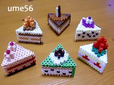 アイロンビーズケーキスイーツ6個♪立体図案レシピ♪六角使用