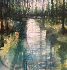 Paul Fowler в Твиттере: «Daily painting no.118 'Woodland Stream' #Watercolour #dailypainting #art https://t.co/MwsUNB3R8o»
