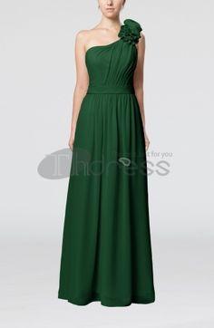 Long Evening Dresses-One Shoulder Sleeveless Zipper Floor Length Sash Evening Dresses