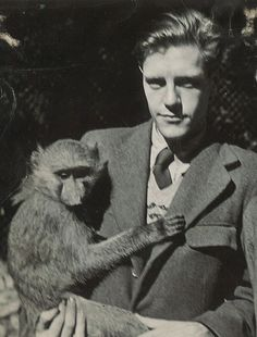 Gerald in 1947 with an Olive baboon.