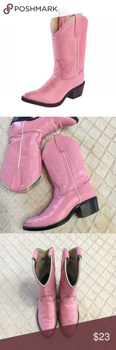 Pink Old West cowgirl boots Adorable pink cowgirl boots by Old West▫️Pink leather uppers▫️Pull tabs▫️Point toe▫️Couple scuffs on toes▫️Little girl size 13  Style: 8119 Old West Shoes Boots