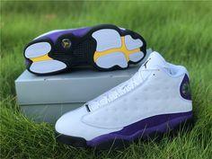 Air Jordan 13 Los Angeles Lakers Gold Color Combination, Purple Suede, Jordan 13, Los Angeles Lakers, White Leather, Air Jordans, Sneakers Nike, Retro, Shoes