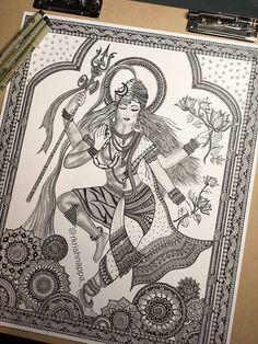 62 Ideas for design print illustration etsy Doodle Art Drawing, Mandala Drawing, Art Drawings Sketches, Pencil Drawings, Buddha Drawing, Krishna Drawing, Dancing Drawings, Mini Drawings, Pencil Sketching