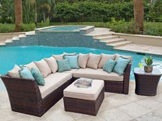 Tan/Neutral cushions w/ colored pillows??  Prob NOT Antibes 4 Pc. Resin Wicker Sectional