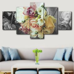 Canvas printed picture living room wall art frame 5 pieces romantic rose painting poster modular home decoration Love Wall Art, Framed Wall Art, Wall Canvas, Canvas Prints, Multi Picture, Romantic Roses, Living Room Pictures, Modular Homes, Flower Fashion