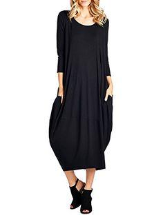 Hersay Solid 3/4 Sleeve Bubble Hem Pocket Midi Dress (M, ... https://www.amazon.com/dp/B075VX82CX/ref=cm_sw_r_pi_dp_x_2aj2zbVAWH2HB