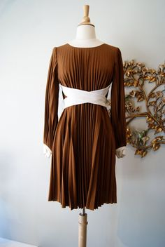 60s Dress / Vintage 1960s Dress / Pleated Coffee by xtabayvintage, $198.00