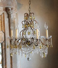 Antique Italian Beaded Chandelier Rare Prisms-