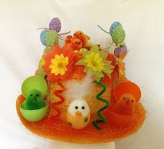 BOYS READY DECORATED HANDMADE EASTER HAT BONNET SCHOOL PARADES EGG HUNT PARTY