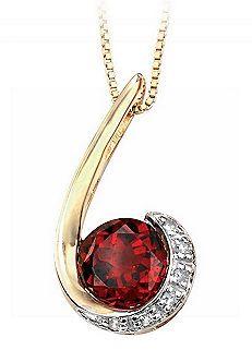 9ct Gold Garnet & Diamond Hook Pendant