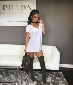 Spring and summer outfit - Tee shirt dress and thigh highs