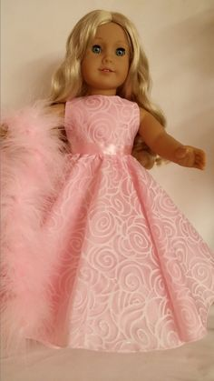 18 inch doll clothes 226 Light Pink Swirl Gown by susiestitchit