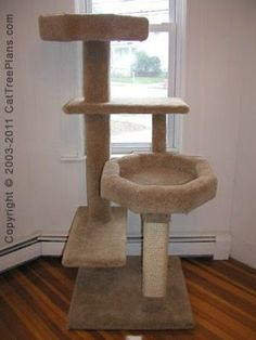 apparently it's impossible to find a simple, stable cat tree with large raised beds like this.  this pic if from a DIY site.  why doesn't somebody sell these?