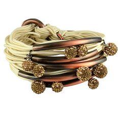 Gillian Julius Multi Tube Bracelet, Copper & Two-Tone Diamond Balls | Crème Cord. Multi strand bracelet consisting of 20 waxed cotton cords. Each cord of bracelet features a copper tube with two-tone cubic zirconia accents. $365