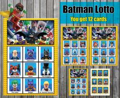 Shop for batman on Etsy, the place to express your creativity through the buying and selling of handmade and vintage goods. Lego Batman Party, Lego Batman Movie, The Calling, Calling Cards, Bingo Caller, Lotto Games, Player Card, All Lego, Bingo Games