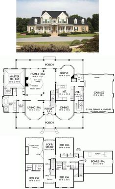 Farmhouse Style House Plan – 4 Beds Baths 3163 Sq/Ft Plan Love the exterior composition but not a fan of the downstairs master. If we could move that somehow, it'd be perfect. ——– Front Exterior of The Arbordale – House Plan Number 452 Sims House Plans, Two Story House Plans, Dream House Plans, My Dream Home, Dream Houses, Large House Plans, Floor Plans 2 Story, Large Floor Plans, Layouts Casa
