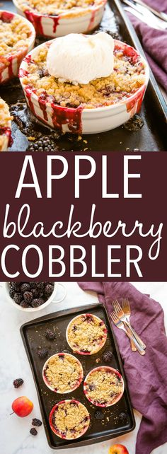 This Apple Blackberry Crumble is the perfect single-serving dessert made with fresh blackberries and apples and a sweet crumble topping.Recipe from thebusybaker.ca! #apple #blackberry #crumble #crisp #fruit #dessert #fruitcrumble #summer #sweet #homemade via @busybakerblog Apple Recipes, Fall Recipes, Sweet Recipes, Real Food Recipes, Cooking Recipes, Easy No Bake Desserts, Easy Desserts, Delicious Desserts, Dessert Recipes