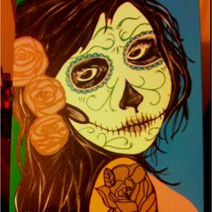 Day of the dead  SOLD ~ Interested?  I can do another similar to this for you.  Just contact me at mandyterry@gmail.com
