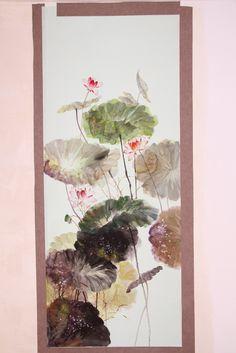 Klassieke elegante hand- geverfde zijde zijde lotus schilderij behang wandbekleding veel foto's optionele
