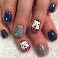 Polar bear nails winter nails Christmas nails holiday nails short nails gel mani nail art nail design