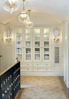 Unbelievable, elegant, built-in linen storage in this new build house on the North Shore of Long Island by Sussan Lari Architects. Love the lights and linen closet Linen Closet Organization, Organization Ideas, Storage Ideas, Closet Storage, Linen Storage, Bedroom Storage, Hallway Storage, Cabinet Storage, Wall Storage