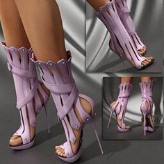 Womens Gladiator Sandals 14cm Slim High Heels Summer Ankle Boots Genuine leather #Other #FashionAnkle